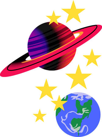 The beauty of space and the sky brightens up the dcor of a little space explorer.  Great for ink print and screen print design.