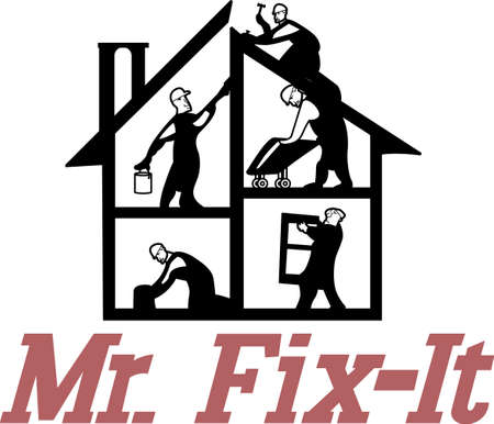 Seek the help of our expert home professionals to get the job done right.  Great art for a repairmans business card! 向量圖像