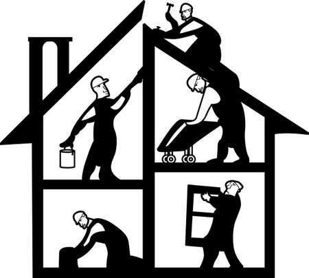 home builder: Seek the help of our expert home professionals to get the job done right.  Great art for a repairmans business card! Illustration