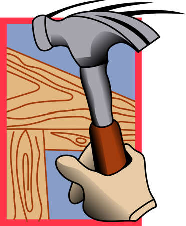 knocker: Create a special promotional item for a skilled carpenter.  This graphic is perfect for most any media including print and screen printing. Illustration