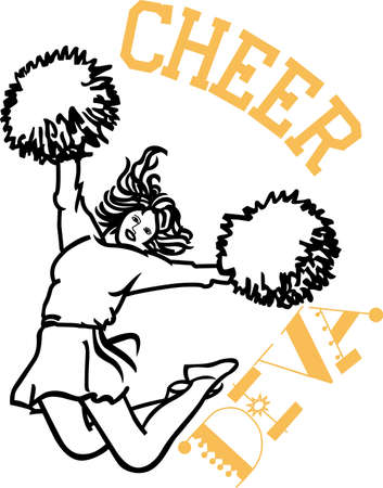 cheer leader: Cheer the team to victory!  Our line art c is sheer leader is sure to make your project shout with spirit.