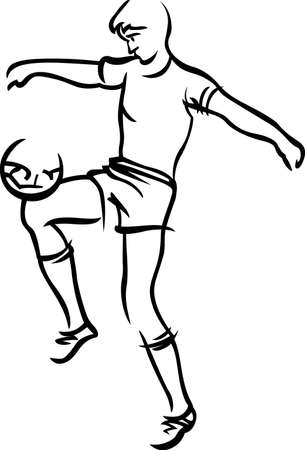Time for soccer!  Our line art soccer player is sure to make a goal on your project.