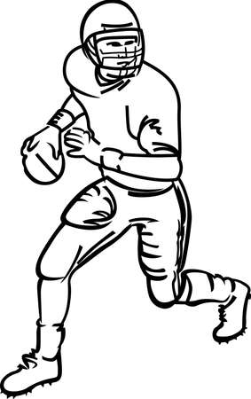 Touchdown!  Our line art football player is sure to make a touchdown on your project.