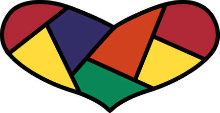 Tiny pieces of colorful fabric stitch together to form this bright heart.  A perfect design for a much loved quilter.