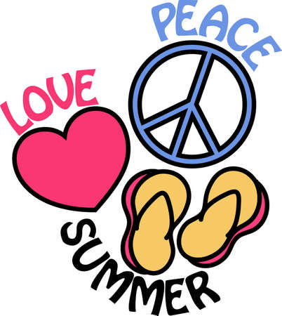 Peace, love and summer are complete with a pair of flip flops.  Super design on a beach bag or fun summer shirt.