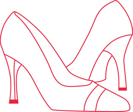 pump shoe: Simple redwork stilettos are a perfect decoration for a shoe bag.  Great for gifting!