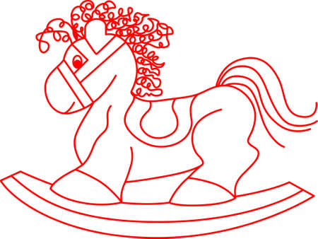 rocking horse: Redwork creates a simple, yet lovely decoration. This classic rocking horse is just perfect to create a classic babys nursery. Illustration