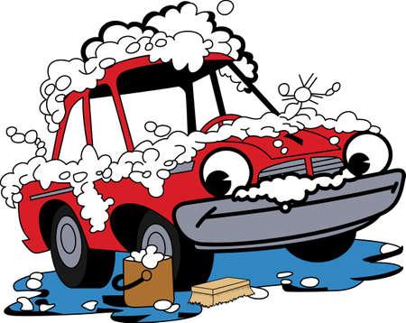 滑らかな洗車できれいに輝くあの車を保ちます。 洗車の資金調達のための楽しいデザイン!  イラスト・ベクター素材