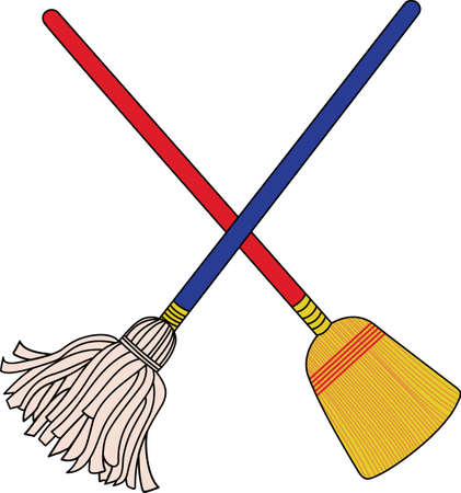 swab: The crossed mop and broom - theres no better graphic for a house cleaning service!  Screen prints and sublimation applications are perfect for this design.