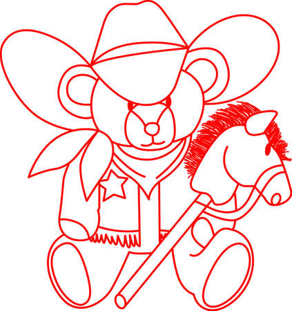 Our little cowboy is ridin' the range on his stick horse!  This redwork design is a perfect element for creating the nursery for the little cowboy. Illustration