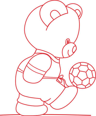 headed: Our little bear is headed for a goal!  Create the perfect nursery for the footballer - great on baby gear too! Illustration
