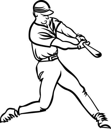 Play ball!  Our line art baseball player is sure to make a home run on your project.