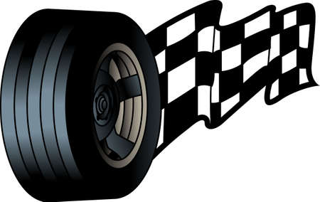 You have to have the right tires to take the checkered flag!  Our fun racing design gives you both the perfect tire and the checkered flag!  Perfect for race day gear.