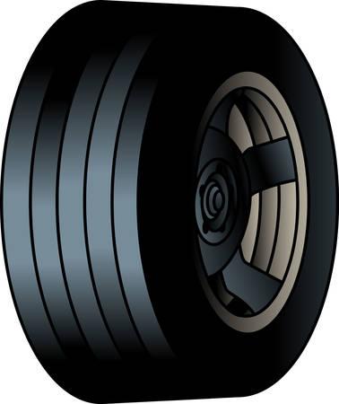 チェッカーフラッグを右側のタイヤをしなければなりません! 私たちの楽しみは、レースのデザインは完璧なタイヤとチェッカーフラッグを与える!   イラスト・ベクター素材