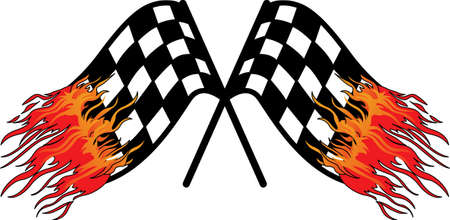 nascar: These checkered flags with flame embellishment make a fast statement for race day gear.  Go fast and take the checkered flag! Illustration