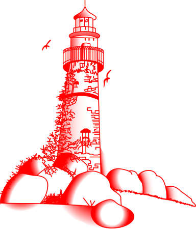 home addition: Redwork creates a simple, yet lovely decoration. This stunningly detailed lighthouse is a lovely addition to your home dcor projects. Illustration