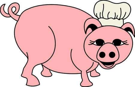 oink: Our little piggy is a great chef!  Hes a bar-b-que expert and adds his flair to your creations for a favorite chef. Illustration
