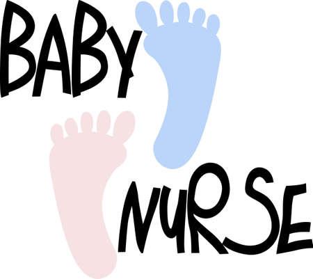 Little baby footprints create a sweet visual.  Lovely design for baby apparel or nursery decor. Иллюстрация