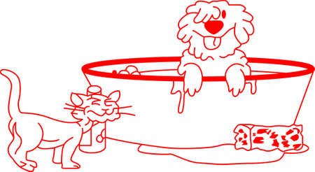 bath time: Its bath time for the furry family members!  This fun redwork design is perfect for a bath towel just for furry friends. Illustration