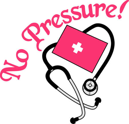 Listen to the sounds of the heart and measure blood pressure with this cuff.  Great art for any health care professional. Illustration