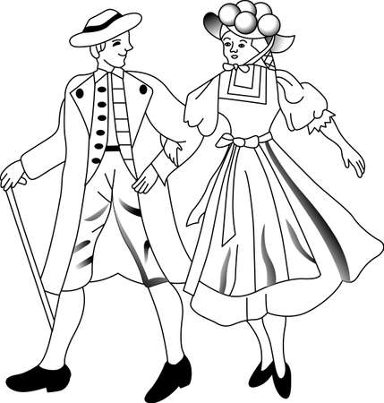 german culture: A couple in traditional German dress bring their cultural charm to your projects.  Great for screen printing and DTG. Illustration
