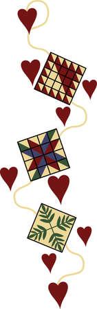 Aquí está la frontera perfecto para el quilter. bloques preciosas y los corazones hacen perfecto para la ropa y artículos de decoración. Ilustración de vector