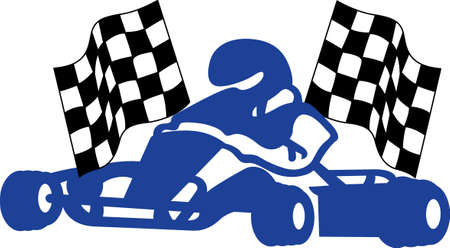 racer flag: Go cart racing is a super fun sport!  Create something your special racer will be sure to treasure decorated with this exciting go cart and checkered flag.