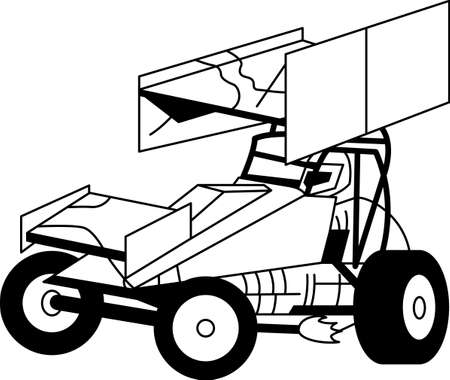 This sprint car outline is just perfect for vinyl cutting.  Creates a super clean, eye-catching design!