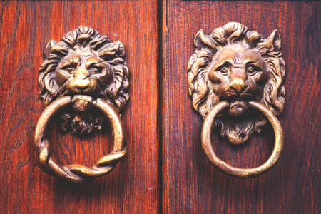door knocker in the form of a lion on a beautiful wooden door, retro toned