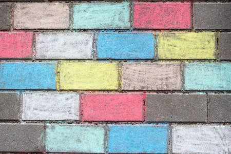 Chalk-painted paving slab background