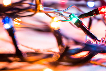 multicolored christmas lights garland