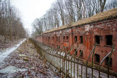 alte deutsche Befestigungen aus rotem Backstein in Kaliningrad