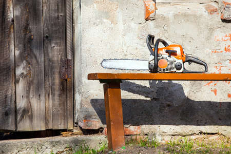chainsaw on the bench, a break at work