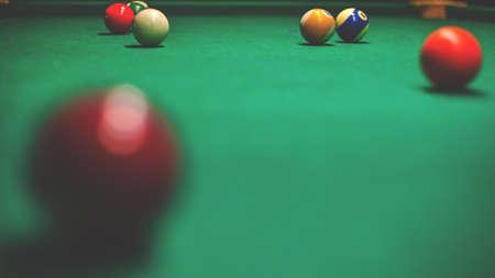 billiard balls on the table, retro toned