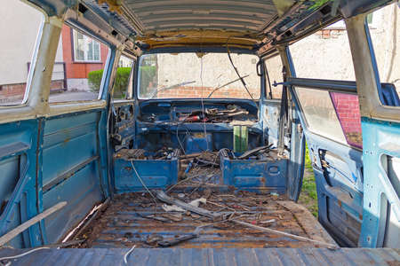view of the dismantled car from the inside Stock Photo
