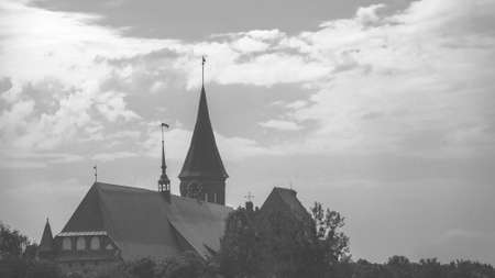 old Prussian cathedral in Kaliningrad, retro black and white toned Stock Photo