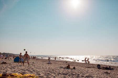 ZELENOGRADSK, RUSSIA, 26 JULY, 2018: people sunbathe on the public beach Editorial