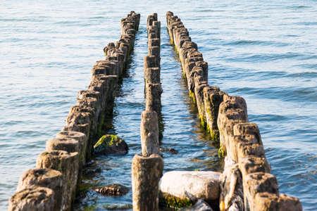 old, algae-covered, breakwaters in the sea Standard-Bild - 112000992