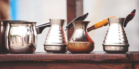 dishes for making coffee in Turkish of different shapes, toned