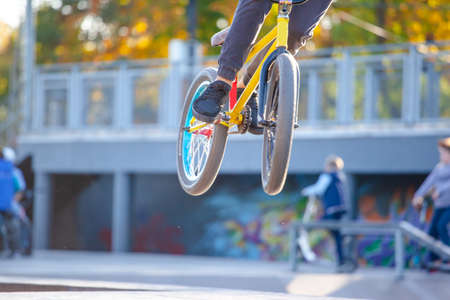young cyclist makes a spectacular extreme jump on the springboard