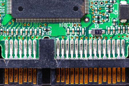 top view of an integrated circuit with contacts, macro Stok Fotoğraf