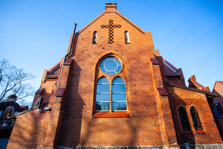 Zelenogradsk, Russia, 18 February, 2019: old gothic red brick church