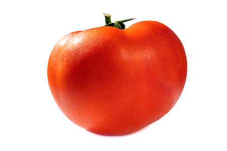 shiny fresh red tomato, side view, isolate