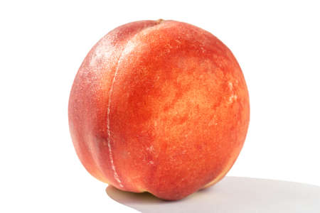 juicy ripe peach in natural sunlight, isolate