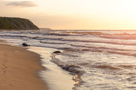 sandy beach, sheer shore on the horizon and a summer sunset over the sea