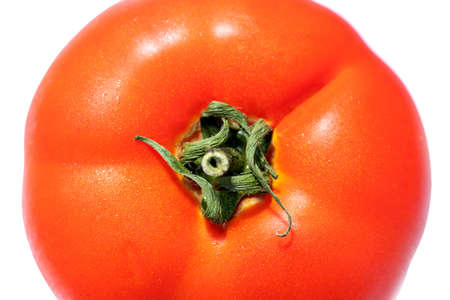 shiny fresh red tomato, top view, close-up