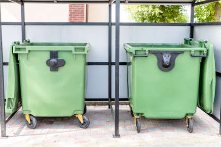 large green garbage containers in a special place 免版税图像 - 158079382