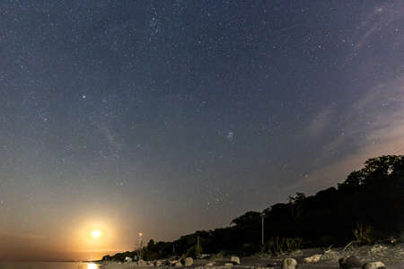 night starry sky with rising moon over sea beach