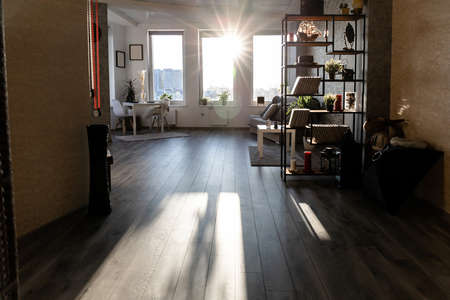 room lit by sunlight from the window
