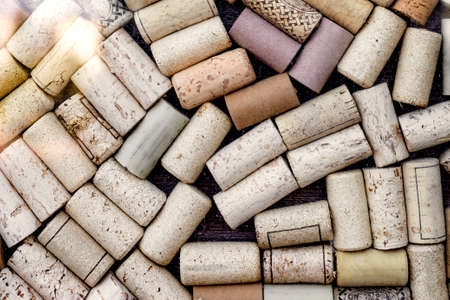 wine bottle corks on the surface, top view, background, texture 免版税图像